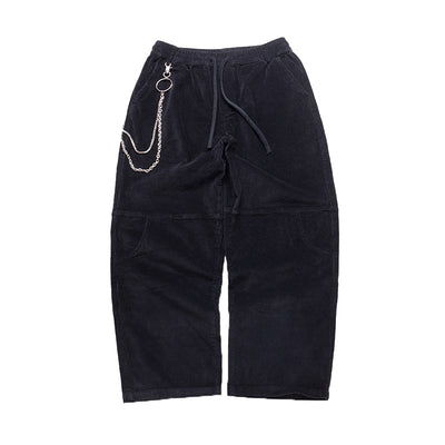 Copy of textured loose fit chain attached corduroy casual pants in 4 colors