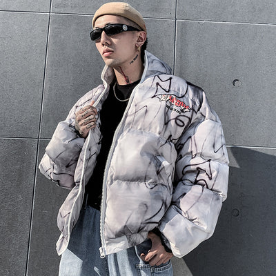 Premium quality splatter tye-die gradient washed out bomber Korean skater puffer jacket in 2 colors