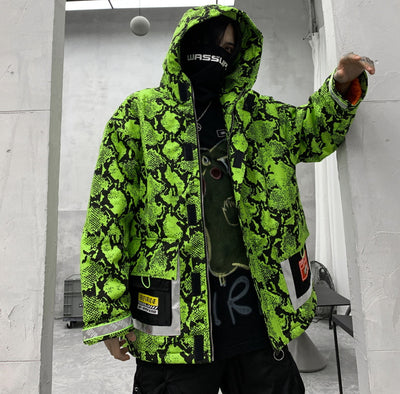 Thick padded cotton hooded snake print quilted reflective bomber jacket available in fluorescent green or white