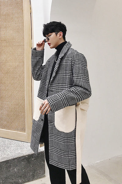 Custom made  houndstooth fabric stitching mid-length woolen trench Mac coat
