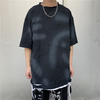 Bleach washed out Korean skater t-shirt in 4 colors