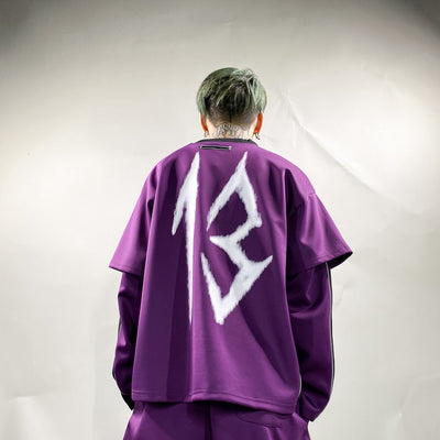 Unusual reflective finish 13 logo print sports suit Korean skater tracksuit top & shorts in 2 colors