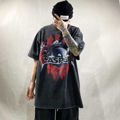 Loose fit washed out bleached ghost cartoon t-shirt in 2 colors