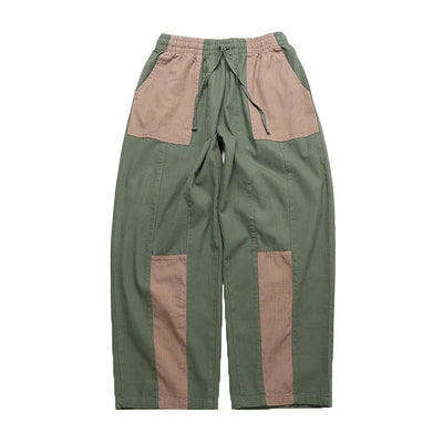 Mixed color multi paneled overalls elastic waist loose fit stitched wide casual pants in 2 colors