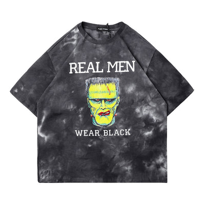 Washed our oversize bleached Frankenstein monster print t-shirt in 2 colors