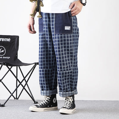 Plaid check stitching wide-legged straight fit jeans in two colorways