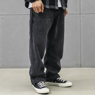 Straight fit slightly baggy distressed black premium quality jeans in black