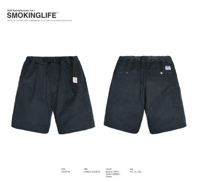 Corduroy shorts Japanese utility belt attached casual cropped pants