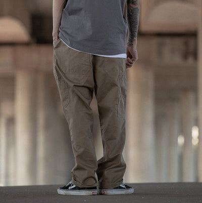 multi-pocket overalls Japanese vintage inspired  straight casual pants