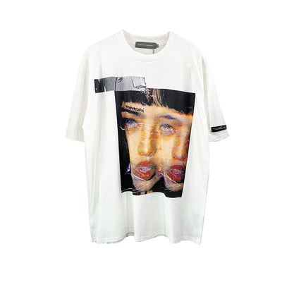 face print short-sleeved t-shirt y2k themed tee in two colors