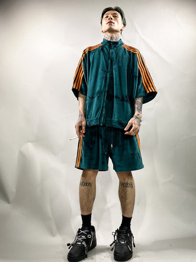Premium quality bleached velvet sports set tie-dye Velour gradient shorts & track top in 4 colors