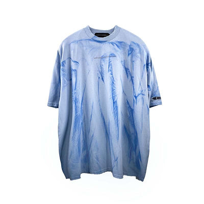 short-sleeved bleached made to look old t-shirt faded print tie-dye tee in 4 colors