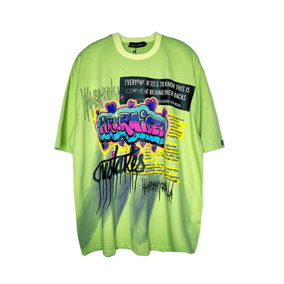 graffiti slogan Printed t-shirt fluorescent graphic oversize fit tee in 2 colors