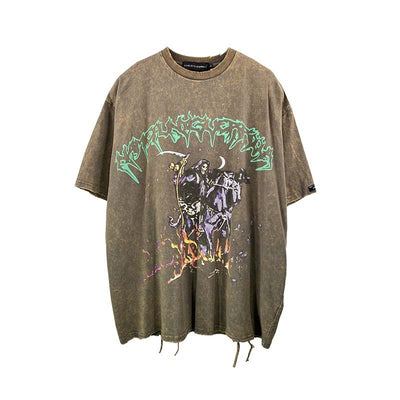 washed out bleached t-shirt graffiti death print cartoon tee in grey