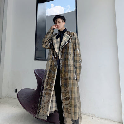 plaid check double layer detachable trench coat plastic cover rain jacket