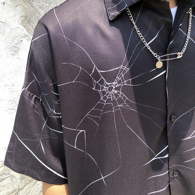 Spider web digitally printed net short sleeve shirt