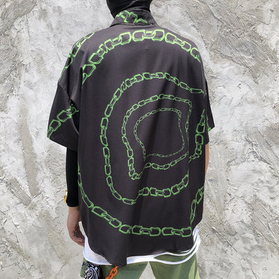 Psychedelic chain print short sleeve digital graphic shirt