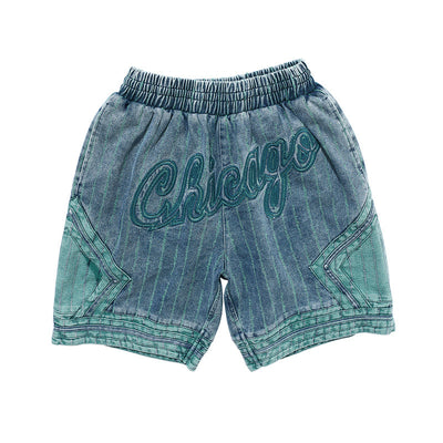 American baseball denim shorts stitched letters made to look old short pants