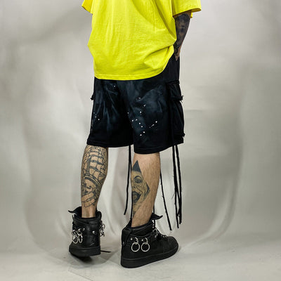 Ink Splash washed out paint splatter casual cargo shorts