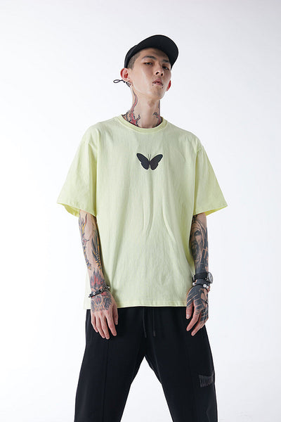 Color changing luminous butterfly loose half sleeve t-shirt