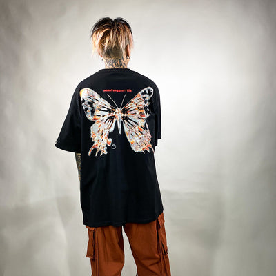 Flame fire butterfly rock heavy metal short-sleeved t-shirt