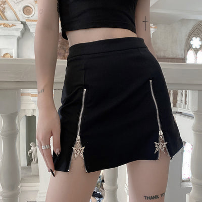 summer dark wind high waist black skirt