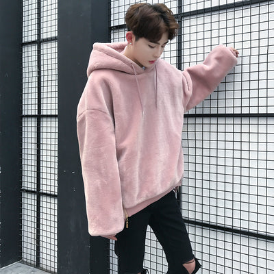 Korean loose fit fleece hooded thickened jacket