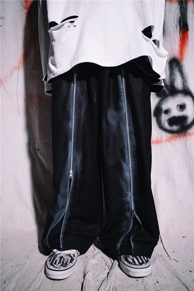 Dark black spray painted casual trousers