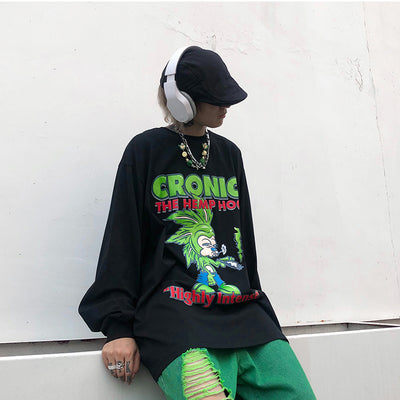 printed long-sleeved oversize loose T-shirt