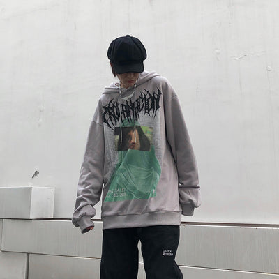 printed hooded terry sweater