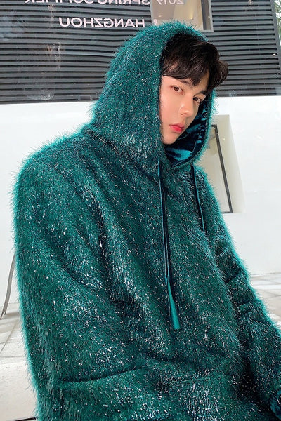 Original velvet fluffy shiny fleece loose fit party rave hoodie