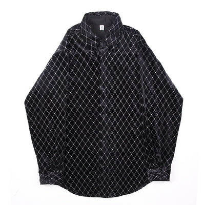 check embroidered velvet loose fit shirt in black