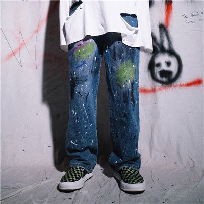 Original graffiti splash ink printed loose straight jeans in blue