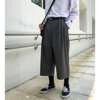 Drooping wide-leg pants loose straight solid neutral casual trousers