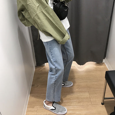 Raw edge straight fit jeans Korean retro cropped pants