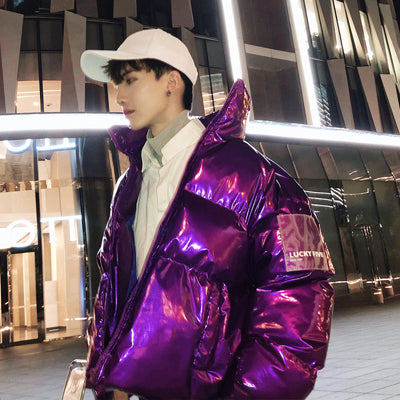 Shiny luminous cropped rubber feel bomber jacket in multiple colors