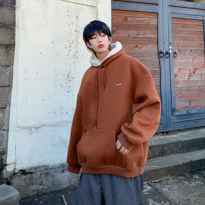 fake lamb wool pullover inner fleece velvet finish hoodie in 3 colors
