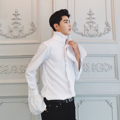 stand-up collar lotus leaf flared long-sleeved Men smart shirt