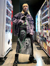 creepy people portrait print grid maxi Girl skirt