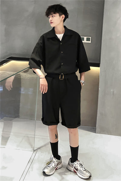 one-piece casual shorts Korean utility tooling jumpsuit in 2 colors