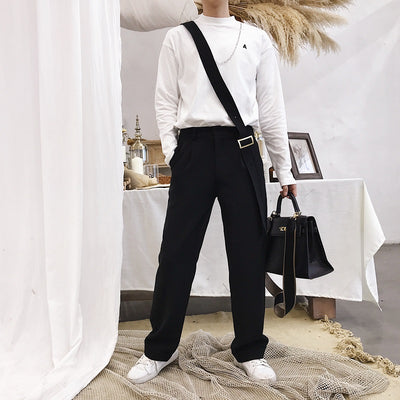 One-Shoulder Detachable belt unusual Casual Pants