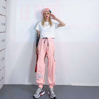 embroidered loose casual wild beam pants