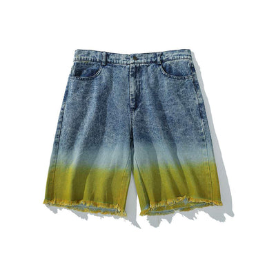 Rainbow gradient tie-dye straight mid denim shorts in 2 colors