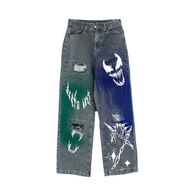 Hand-painted ripped washed out distressed denim straight fit jeans