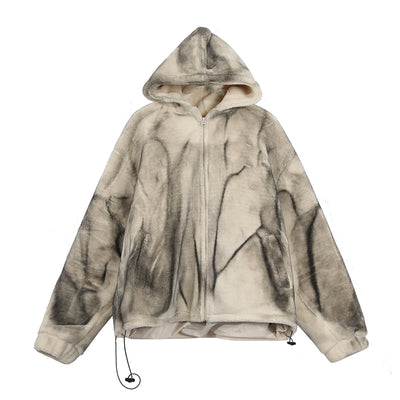 fake fur thick lamb plush loose beam adjustable made to look old washed out fleece jacket in 3 colors