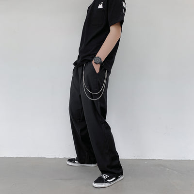 Detachable chain attachment straight fit trousers