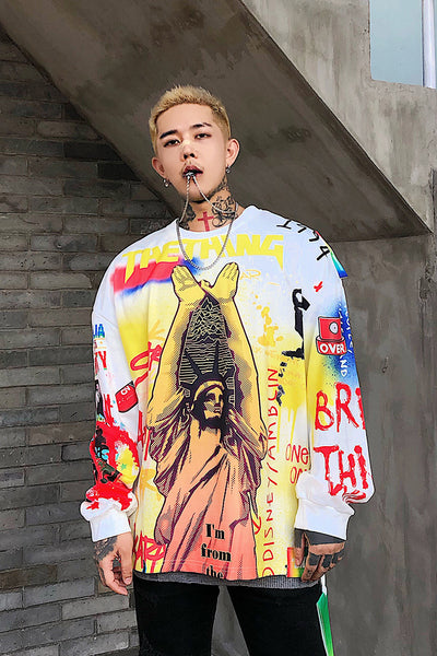 Statue of liberty print graffiti hip hop round neck men sweatshirt