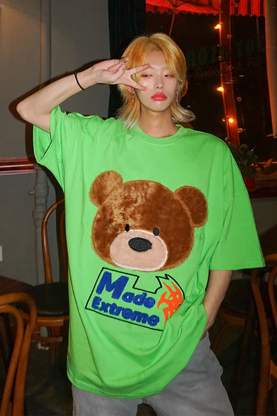 bear fleece patch loose fit t-shirt in 3 colors