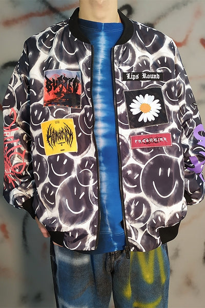 Dark smiley emoji print graffiti painted loose jacket daisy patch baseball jacket