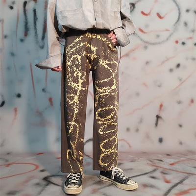 Spray paint printed straight splatter painted jeans